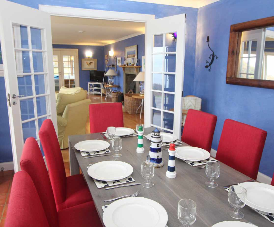 The dining room is located at the front of the house has views of the Loch and beyond