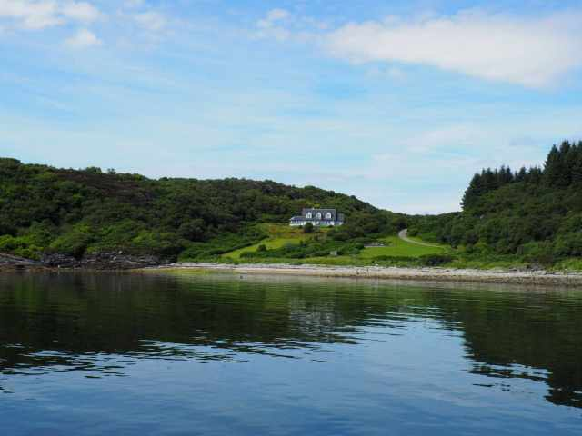 Holiday home on a private track on the edge of a Loch in Scotland overlooking the Mull of Kintyre