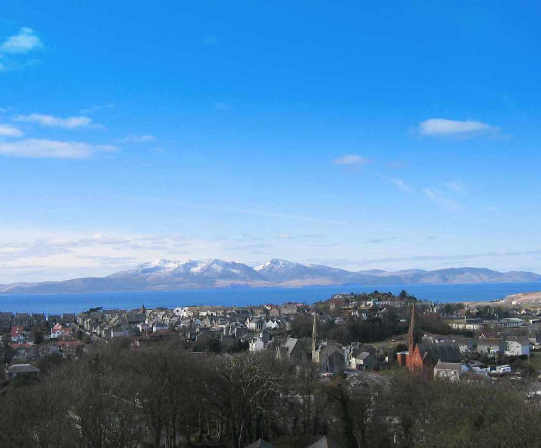 View from the castle over to the Isle of Arran