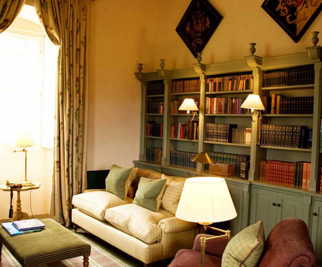 The castle library next door is a more intimate room