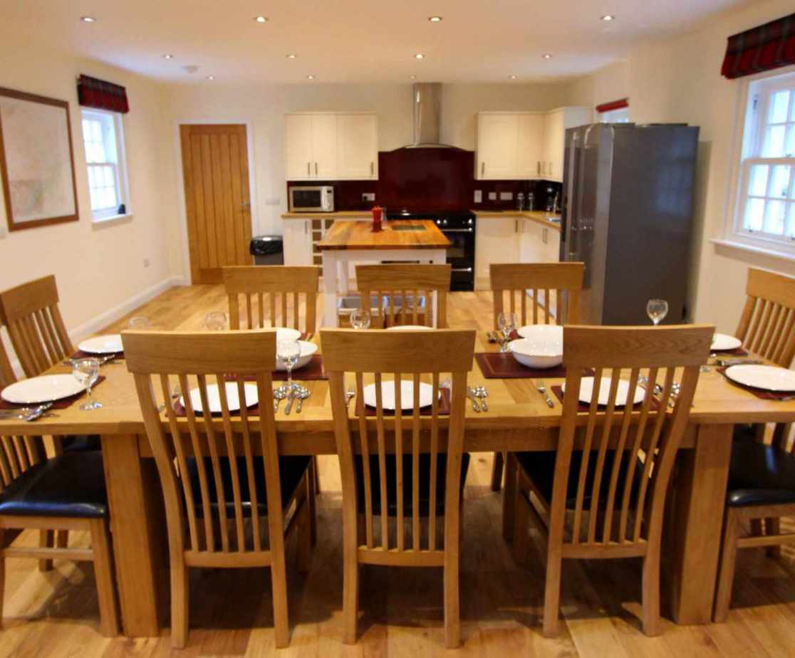 The open plan kitchen and dining room are the hub of the house