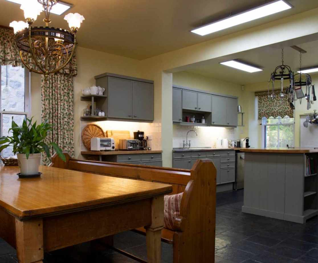 Fantastically large kitchen with good breakfast seating