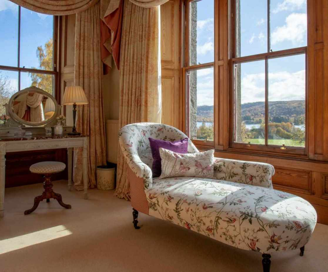 The master suite is a room of very generous proportions with great views