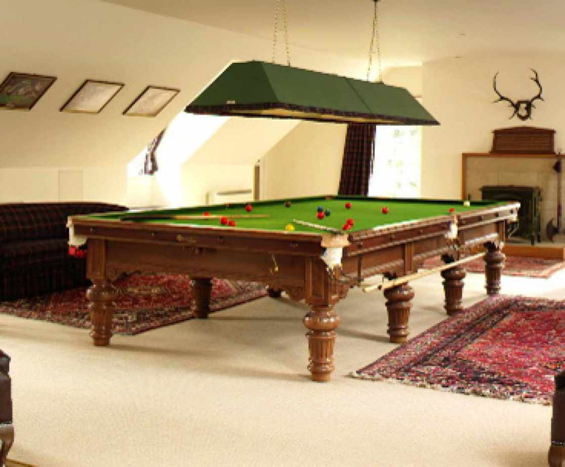 The games complex has a snooker room above the swimming pool