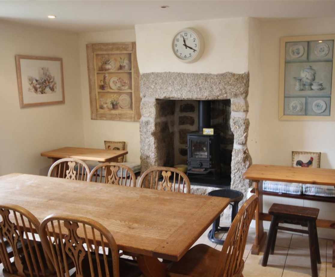Dining area with wood burner