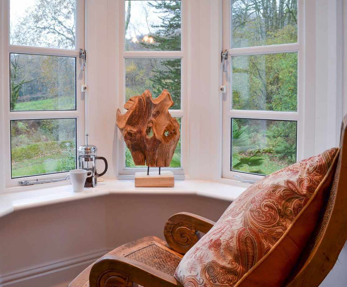 Comfortable seating in the bay window