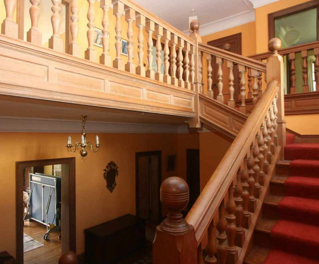 The fine pitch pine staircase leads you to the accommodation above