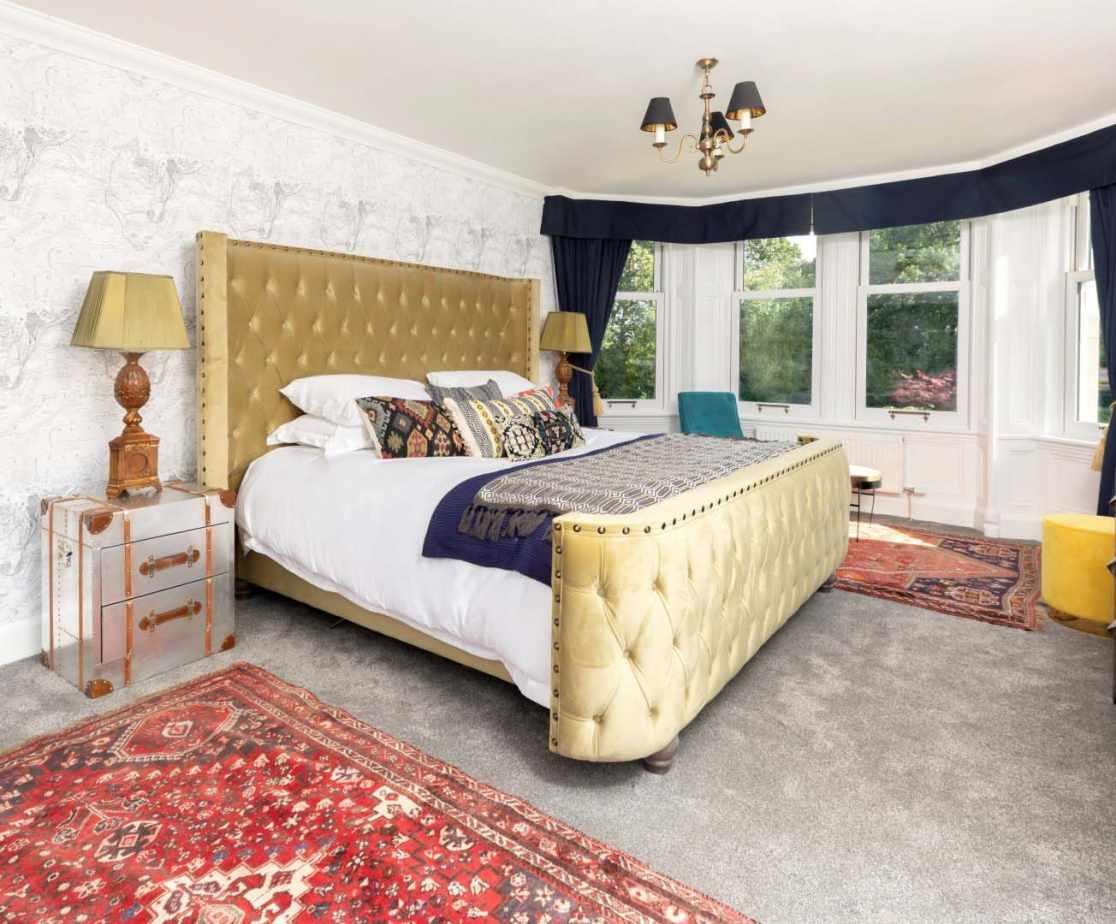 Bedroom 1: This opulent bedroom has a superking bed, walk-in closet and ensuite bathroom