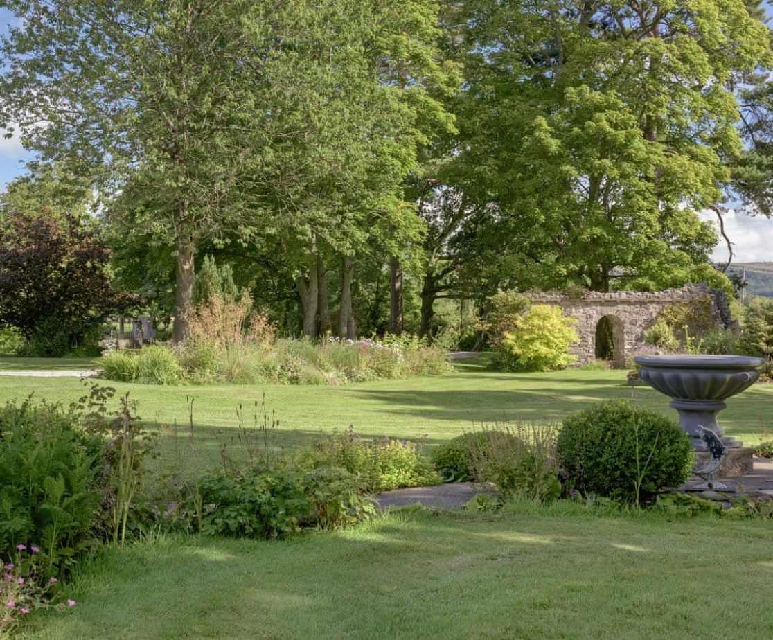 Meander around the lush formal gardens