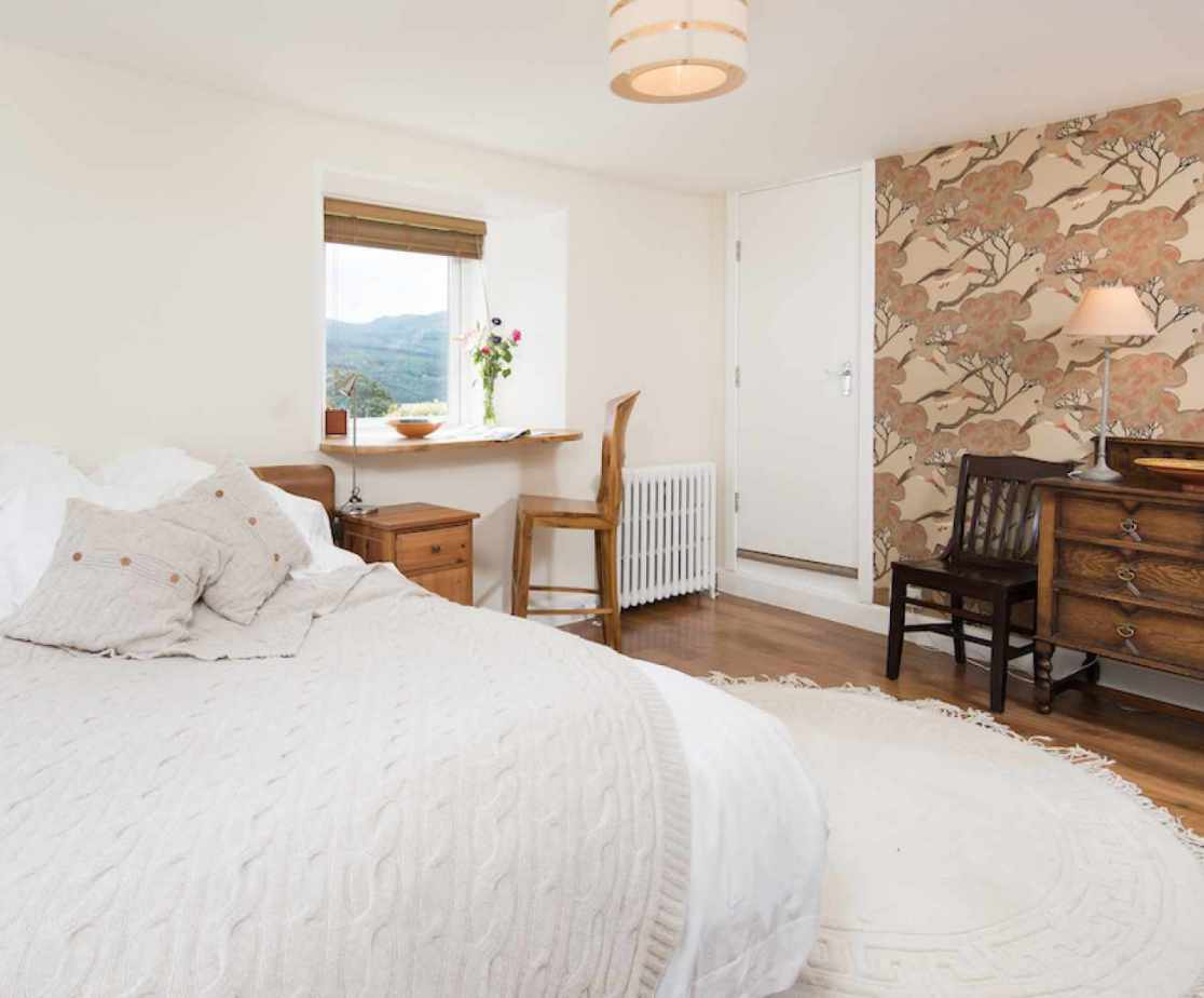 The \'Mallard\' bedroom is the one bedroom at lower ground level